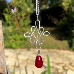 Celtic Ruby Sterling Silver Wire Wrapped Pendant